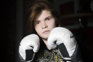 یلنا سوبول، بوکسر حرفه ای در تمرینات